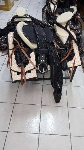 Montura Charra O Silla Para Caballo Cuadrada Negro/natural
