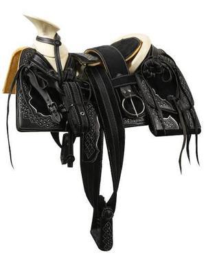 Montura Charra O Silla Para Caballo Cuadrada Negro/negro