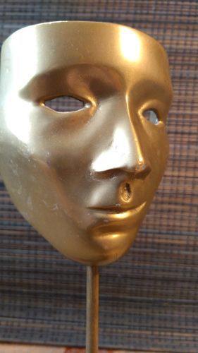 Máscara De Bronce De Teatro Escultura Antigua