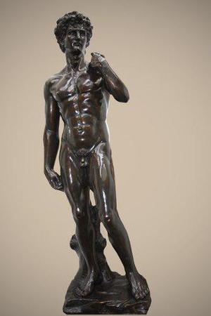 Preciosa Escultura Bronce El David De Miguel Angel