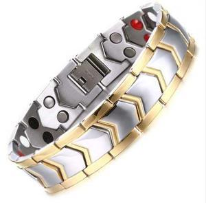 Pulsera Magnética Titanium Brazalete Diseño Plata Titanio