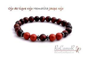 Pulsera Para Hombre #rocamor Ojo De Tigre Rojo/jaspe Rojo