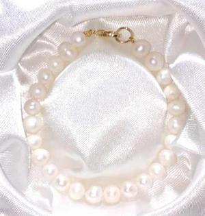 Pulsera Y Aretes Con Perlas Grandes Cultivadas A028