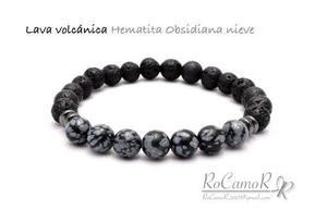 Pulsera #rocamor Para Hombre De Lava Y Obsidiana Nieve