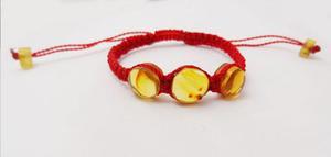 Pulseras De Ambar Hilo Seda Rojo Para Bebes --kairos--