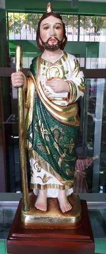 San Judas Tadeo, Policromado, Aplicación De Oro, Madera