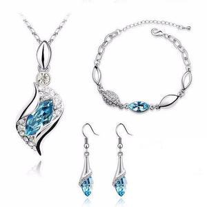 Set Cristal Azul Caja Y Cert Collar Pulsera Aretes