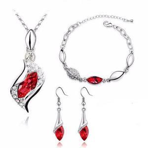 Set Cristales Elements Rojo Pulsera Dije Aretes