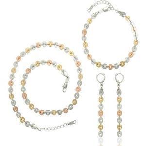 Set De Joyería (collar, Pulsera Y Aretes) Metales