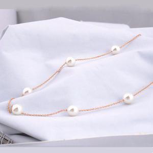Set De Pulsera Con Collar Perla Sintética Chapa De Oro -109