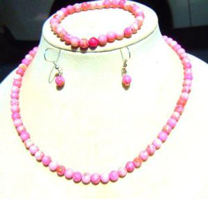 Set Jade Coral 6 Mm Collar Pulsera Aretes Antes $ 590