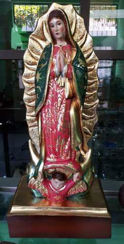 Virgen De Guadalupe En Madera De Cedro Pintada Al Oleo