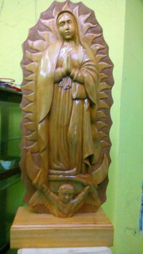 Virgen De Guadalupe Tallada En Madera De Cedro 1 Metro