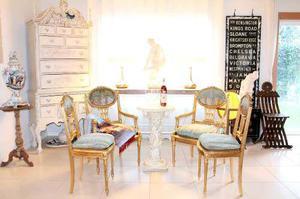 Antigua, Fina Y Elegante Sala Francesa En Hoja De Oro Y Seda