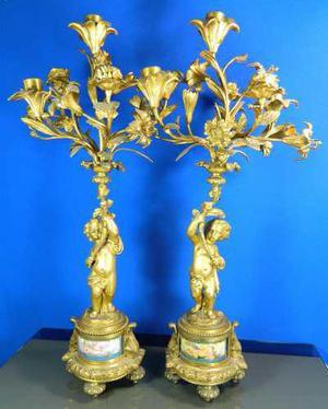 Antiguo Par De Candelabros Bronce Dorado Y Porcelana Sevres