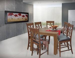 Comedor cuadrado alto con 8 sillas/bancos de madera