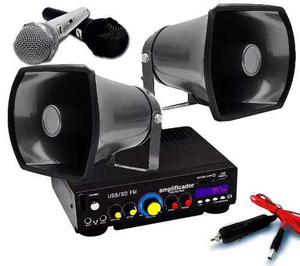 Kit Perifoneo Amplificador 2 Trompetas 2 Micros Y Adaptador