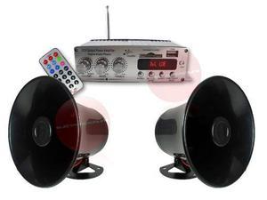 Kit Perifoneo Amplificador Bluetooth Usb Y 2 Trompetas