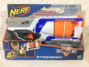 Nerf Strongarm N-strike Blanca Con Azul Con 6 Dardos Nueva