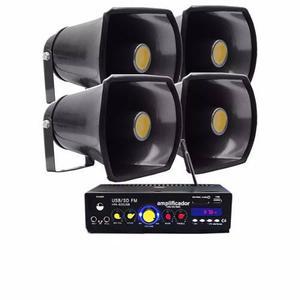 Pack Para Perifoneo Amplificador Con 4 Trompetas 1500w Wow