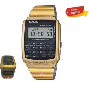 Reloj Casio Ca506 Calculadora 8dig Dorado / Negro Wr Vintage