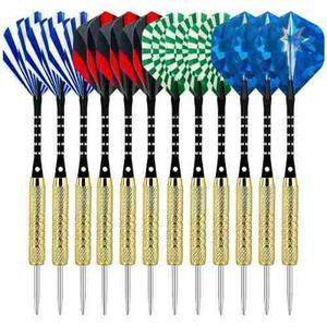 Set 12 Dardos Punta Metal Azules Afilador - Envio Gratis