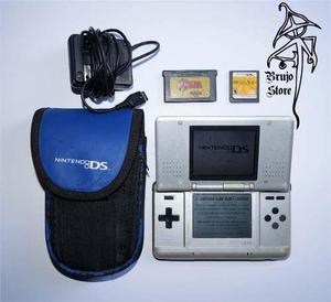 Videojuego Nintendo Ds Plata Con Accesorios Brujostore
