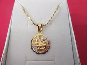 Cadena Y Medalla Bautizo Chapa Oro 14 Kilates