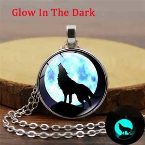 Collar Lobo Luna Llena Brilla En La Oscuridad Envió Gratis