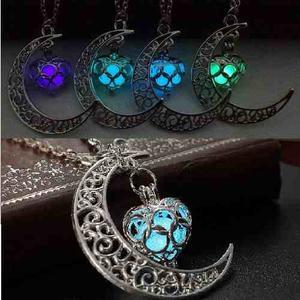 Collar Luna Corazón Brilla Oscuridad Mayoreo Mujer Novedad
