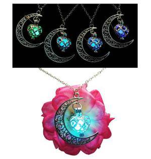 Collar Luna Corazón Brilla Oscuridad Original + Envió