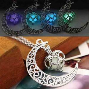 Collar Luna Corazón Luminosa Brillante + Precio De Mayoreo
