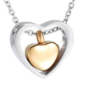 Collar Relicario Corazón Doble Urna Cenizas Acero