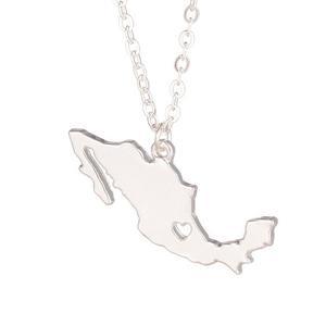 Dije Con Cadena Con Forma De Mapa De México Con Corazón