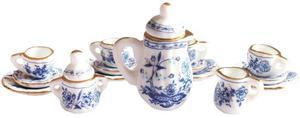 Hermoso Juego De Te Miniatura Porcelana Fina M Italian Blue
