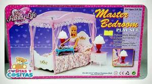 Mueble Para Casa De Muñeca Barbie Recamara Elegante Velo