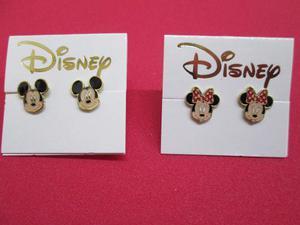 2 Pares Aretes Personajes Disney En Chapa De Oro