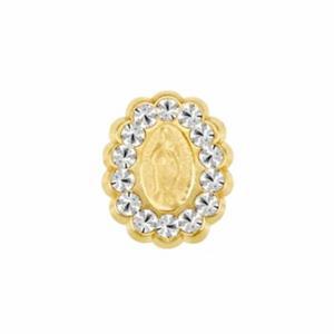 Aretes Broquel Virgencita Oro 10k Piedras Blancas Niña