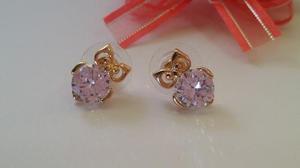 Aretes Buho Chapa Oro 18k Zirconia Diamond