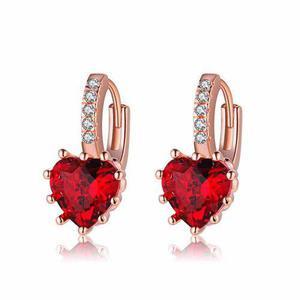 Aretes Corazón Swarovski Y Oro Rosa Laminado 18k