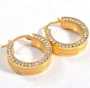 Aretes De Acero Diamantados Dorados Con Zirconias - 111