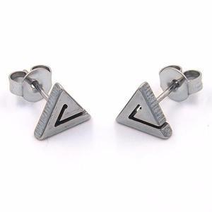 Aretes De Acero Tipo Broquel Triangulo Espiral Plateado