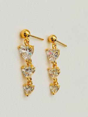 Aretes De Corazones Oro Lam Cristal Swarovski Elements.