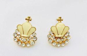Aretes De Corona Oro Lam Y Zirconias Calidad Diamante.