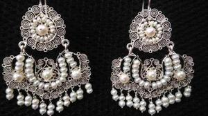 Aretes De Filigrana De Plata, Emes Grandes Con Perlas