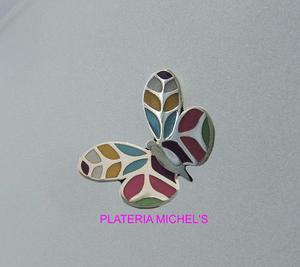 Aretes De Mariposa Colores Pastel En Plata Ley 0.925