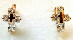 Aretes De Oro Cruz Cristal Swarovski Elements Envio Gratis!
