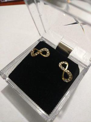 Aretes De Oro De Infinito Con Cristal Swarovski