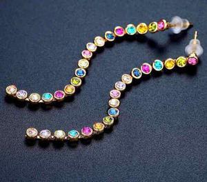 Aretes De Oro Grandes Y Cristal Swarovski Elements Colores.