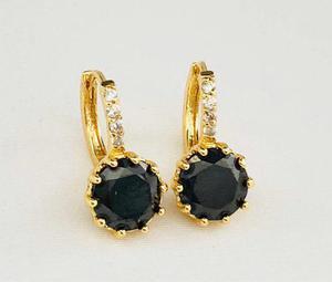Aretes De Oro Y Cristal Austriaco Negro.